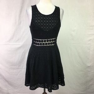 Free People Black Lace Fit and Flare Dress